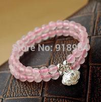 D203 Fashion Jewelry National Pink Quartz Thai Silver Longevity Buddha Energy Lucky Healthy Shamballa Bracelets