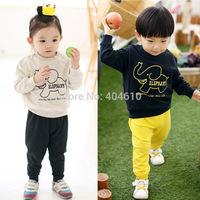 clothing set kids spring & autumn girls boys t-shirt long sleeve cartoon elephant top + harem pants 2pieces sets  ETJ-T0314