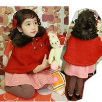 Chilren Kid Girls Buttons Outerwear Lapel Collar Woolen Cloak Cape Red Coat Free Shipping