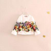 wholesale 2014 new fashion brand design children girl white color flower jackets coats outerwear