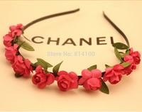 free shipping Bohemian hair band  rose red wind beach jewelry wholesale flower hair hoop headband hair accessories head