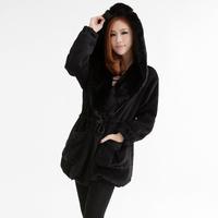 Winter New Fur Collar Drawstring Long Sleeve Pockets Hoodies Thick Vintage Fashion Casual Warm Woollen Coat 516