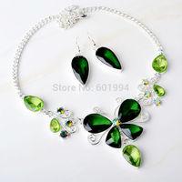 2014 New Design Women Butterfly Style Silver Overlay Bib Statement Green Quartz Topaz Set Necklace Earrings