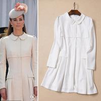 Free Shipping S/M/L European Style Princess Kate Autumn Winter Fashion Elegant White Knee-length Dresses Office Dress