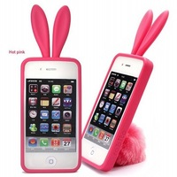 100Pcs/Lot DHL Cute Bunny Rabito TPU Skin Case Cover For iPhone 4 S 4G 4S Lovely Rabbit with Tail cases for iphone4 High Quality