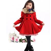 New 2014 Children Clothing  Winter Woolen Plus Thicken Double Row Winter Coat