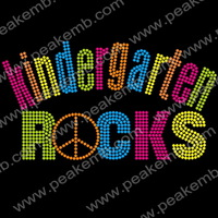 Free Shipping 50pcs/Lot Kindergarten Rocks Custom Rhinestone Transfer Wholesale Hotfix Designs