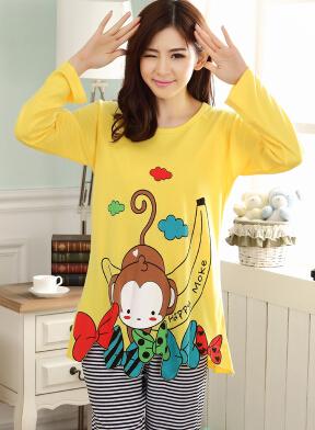 Бесплатная доставка пижамы комплект о-образным с длинным рукавом женская
