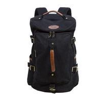 KAUKKO FS224 Canvas Men Women Popular Backpack Rucksack School Travel Bag - Black