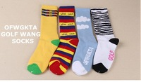 Free shipping Odd Future OFWGKTA Golf Wang Striped/Cloud/Tiger Crew Socks Double Layer Thicker Terry Socks