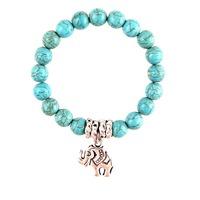 Women classic Green Turquoise Beads Bracelet Ancient silver plated elephant charm pendant bracelet