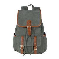 KAUKKO FS227 Canvas Men Women Backpack Rucksack Popular School Travel Bag - Army Green
