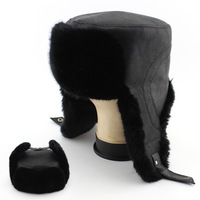 2014 Bomber Hats men winter cap leather erect ears hat caps winter thermal men ear protection hat Free Shipping