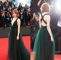 2014 Venice Film Emma Stone Red Carpet Dresses Deep V-neck Soft Tulle Empire Waist Floor-length Long Celebrity Dress To Party