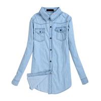 2014 Winter Good Quality Single-breasted Denim Blouses Fashion Long Sleeve Body Tops Turn-down Collar Pockets Slim Shirts 8008