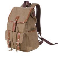KAUKKO FS227 Canvas Men Women Best Price Backpack Rucksack School Travel Bag - Dark Kahki