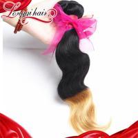 LQ Beauty Hair Two Tone Color 1B/27 Brazilian Virgin Hair Body Wave Human Hair Extensions Ombre Brazilian Hair Weave 8-26inch