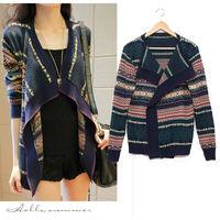 Colorful 2014 Autumn Women Casual  Asymmetrical Kintted Sweater Open Stitch Long Desigual Print Korean Cardigans Plus Size nz193