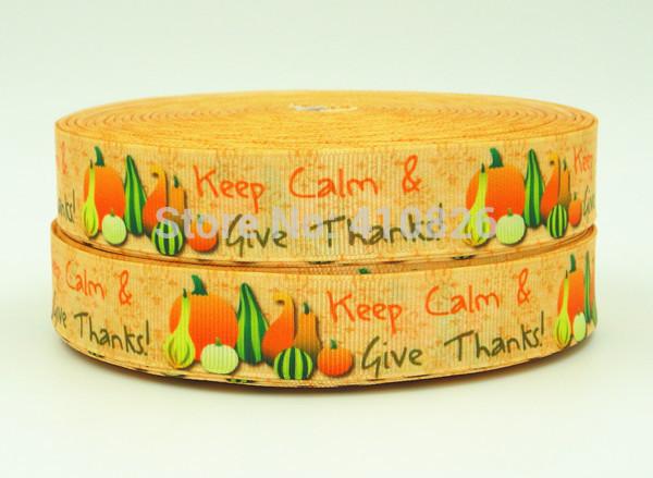 WM ribbon wholesale/OEM 7/8inch 22mm 140901026 Thanksgiving day Printed grosgrain ribbon 50yds/roll free shipping(China (Mainland))