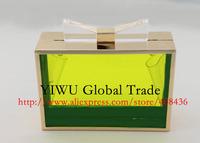 2014 famous block handbag acrylic bow transparent candy elegant chain bag clutch evening bag mini shoulder/cross-body bag