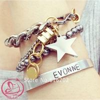2014 New Design Famous Brand Metal Pentagram Bracelets & Bangles Luxury Charm Bracelets For Women Best Selling Gift