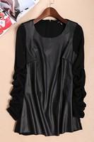 2014 New Autumn Winter UK Plus Large Size  Women's Long Sleeve Patchwork PU Fabric Spliced Zipper Female Leather Coat Jackets
