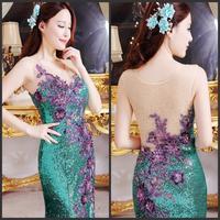 Evening dress 2014 new crystal wedding toast the bride dress vestido de noite free shipping a011