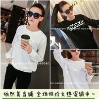 2014 women Korean alphabet gauze blouses openwork stitching round neck long-sleeved sweatshirt pullover