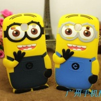 3D Cute Despicable Me 2 Minions Soft Silicone Cover Case For Samsung Galaxy Core i8262 Ace 3 S7270 S7272 50pcs DHL Free Shipping