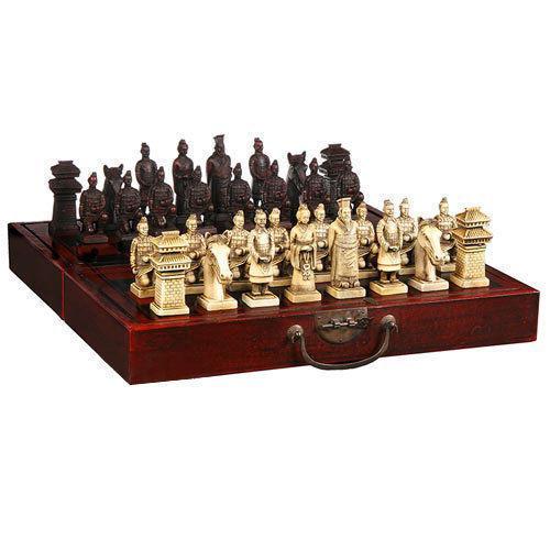 Chinese 32 pieces chess set/box/Xian Terracota Warrior(China (Mainland))
