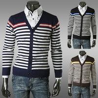 New 2014 Winter Men's Cardigan Sweaters Fashion Casual Striped Men's Cardigan Sweaters Free Shipping Promotion