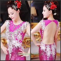 Evening dress 2014 new crystal wedding toast the bride dress vestido de noite free shipping a012