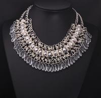 2014 New Trendy Fashion za Brand Clear Color Bohemia Tassel Long Multi-layer Necklace Alloy Choker Women Jewelry 9223