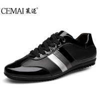 Spring small yards 35 men's casual shoes breathable lace trend patent leather Men's flat shoes comfortable shoes tide 45