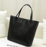 2014 Crocodile Vintage Big Bag Fashion Casual Women Handbag Fashionable Black PU Leather Women's Shoulder Bag Free Shipping