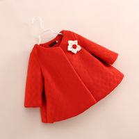 hot sale little children girl flower wool coat melton jackets 2-8 years