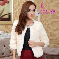 2015 New Rabbit Fur Coat Women Fashion New Brand Design  Natural Solid Rabbit Women Fur Coat Free Shipping