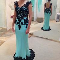 2014 Real Sample Mint Green Chiffon Black Lace Appliqued Backless Long Evening Dress vestido de festa longo