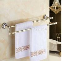 Free Shipping!   Wall Mounted Dual Hangers Towel Rack Holder Ceramic Base Towel Bar W/ Towel Hook