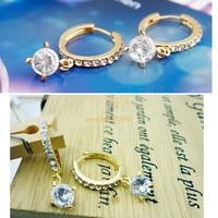 Unique Design 1 Pair Lovely Cute Drop Hoop Ring Alloy Rhinestone Crystal Earrings Stud Earrings SV19 5101