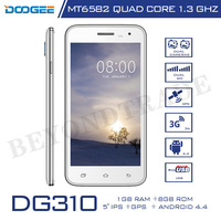 Original Doogee Brand DG310 Android Smartphone MTK6582 1.3GHz Quad Core 1G RAM 8G ROM 5.0 Inch 5.0MP Camera 3G Mobile Phone