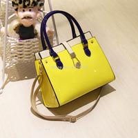 2014 color block patchwork handbag shoulder bag PU japanned leather shiny women's candy color handbag large