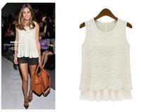 New FashionNew women's large size sleeveless lace chiffon shirt SK062835