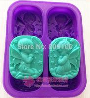 Wholesaleretail ,Silicone 4 hole angel Cake Mould Soap Mold  ,free shipping hole:8*6.3*2.5CM