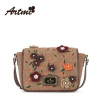 For ar tmi2014 autumn sweet flower embroidery gentlewomen women's cross-body bag genuine leather women's handbag
