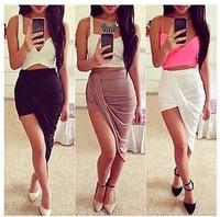 New Women Skirt 2014 Hot Selling Casual Beach Asymmetric Stretch High Waist Summer Long Skirt Free Shipping