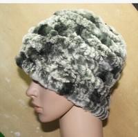 Hot Sale 2014 Women Fashion Genuine Real Knitted Rabbit Fur Hat Warm Cap Headgear Headdress Accessory  Free Shipping Wholesale