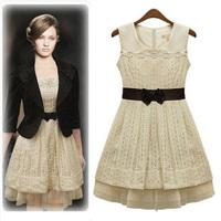 2014 Hot Sale Vestido De Festa Party Dresses Dress Sleeveless Tank Vestidos With Belt Slim Sweet Party Spring-autumn Dr070583