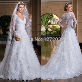 2014 сексуальная сшитое vestido де noiva строки видеть сквозь назад с длинным рукавом свадебные платья свадебные платья noivas