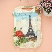 New Summer Fashion Women Tower Flower Words Print Round Neck Short Sleeve Casual T-Shirt Art T Shirt for Girls